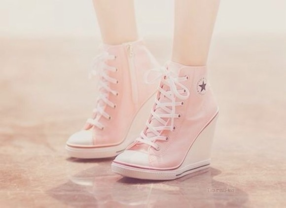 wedges converse shoes laces zipper shoes converse pink heels converse pink