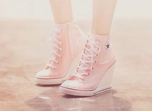 Platform Wedge Heels Sneakers Ankle Boots High Top Women's