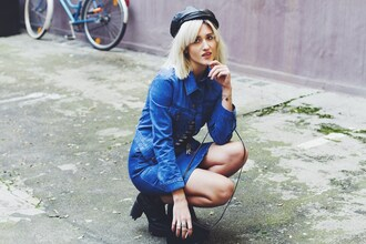 mikuta now blogger fisherman cap denim skirt denim jacket skirt jacket shoes hat