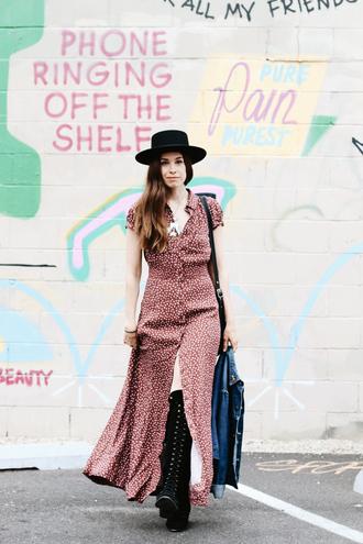 orchid grey blogger dress hat shoes jacket bag