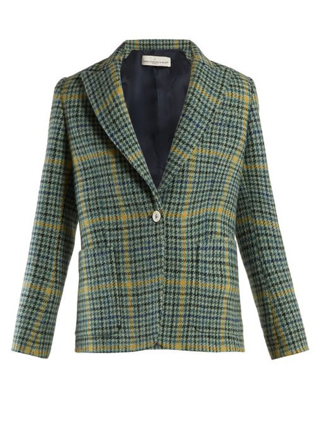 Golden Goose Deluxe Brand - Venice Single Breasted Checked Blazer - Womens - Green Multi