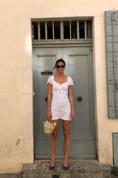 bag,dress,white dress,basket bag,sunglasses