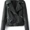 Black lapel oblique zipper crop pu jacket -shein(sheinside)
