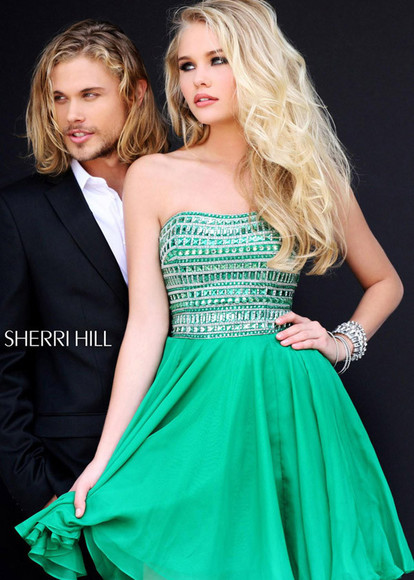 green dress short homecoming dress chiffon dresses