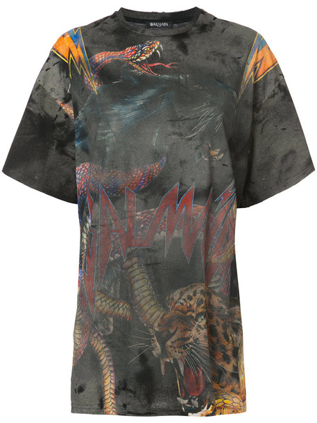 Balmain t-shirt shirt t-shirt oversized women tiger tiger print cotton print grey top