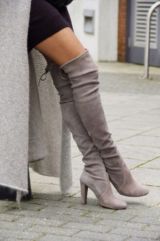 shoes boots bold grey cute girly over the knee boots knee high boots dress fasihon