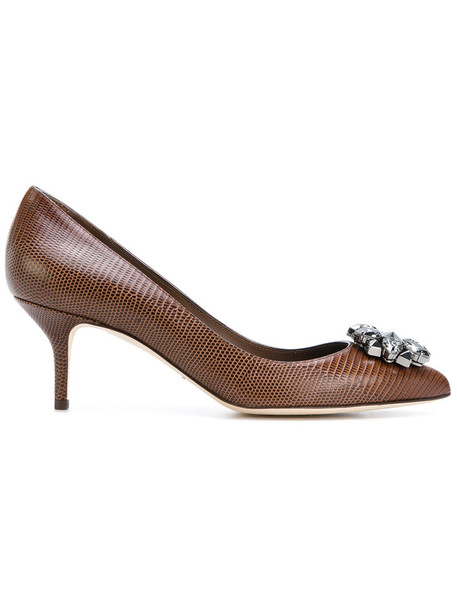 Dolce & Gabbana women embellished pumps leather brown shoes
