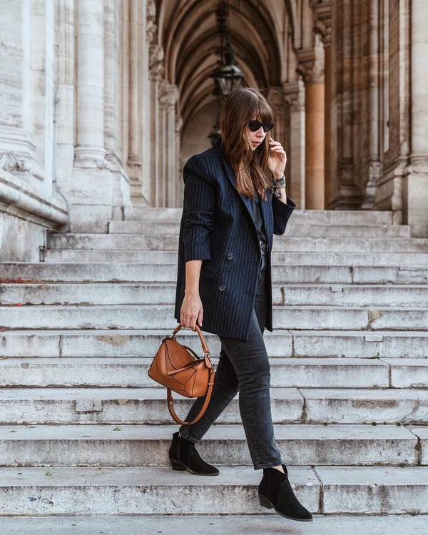 jacket blazer stripes oversized jacket ankle boots black boots suede boots jeans black jeans handbag black blouse sunglasses