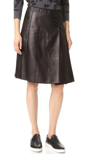 68c8a064f0 Marc Jacobs Lambskin Pleated Leather Skirt - Black - Wheretoget