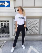 t-shirt,tumblr,white t-shirt,quote on it,pants,black pants,sneakers,white sneakers,low top sneakers,sunglasses