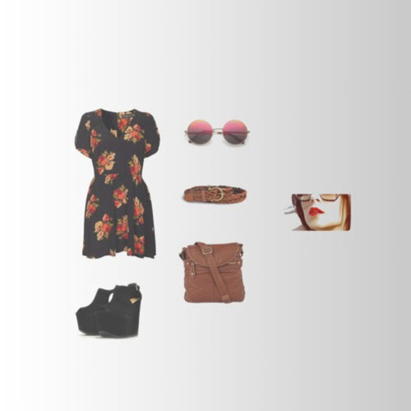 dress floral print dress satchel vintage sunglasses tinted wedged shoes brown leather satchel weaved belt