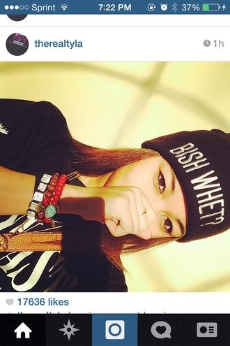 hat jewels wolftyla beanie bish whet black