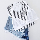 underwear,bra,bra top,white,white bra,mesh,mesh bra,sheer,sheer bra,strappy,strappy bra,bikini bra,bralette,cute,fashion,style,tumblr,tumblr fashion,cute outfits,shorts,ripped shorts,striped crop top,crop tops,white bralette,watch