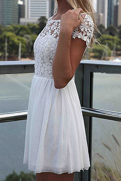 White Short Sleeve Hollow Floral Crochet Pleated Dress - Sheinside.com