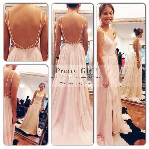 Aliexpress.com : buy 2015 sexy open back spaghetti strap vestido de gala chiffon evening dress bandage long robe de soire events gown pg416 from reliable dress women suppliers on pretty girl trade co., ltd