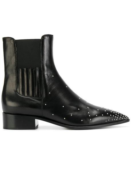 David Beauciel studded women chelsea boots leather black shoes