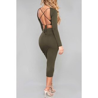 green fashion open back hot bodycon long sleeves strappy criss cross dress rose wholesale-jan girly girl girly wishlist bodycon dress olive green