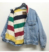 jacket,denim jacket,denim,pattern,stripes,colorful,sweater,striped sweater,levi's,trucker,coat,levis jacket,rainbow,winter outfits,oversized,oversized jacket,blue,acid wash,light washed denim