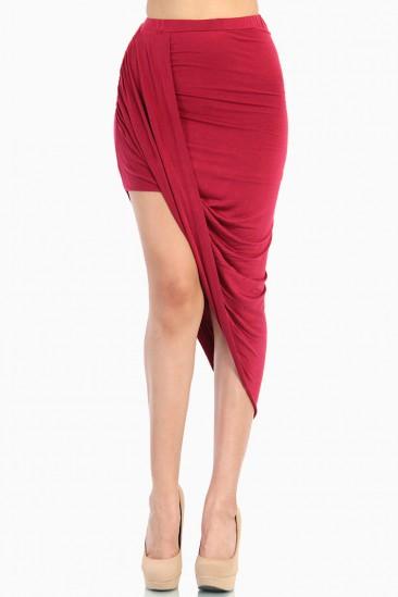LoveMelrose.com From Harry & Molly | Overlapped Draped Skirt - Red