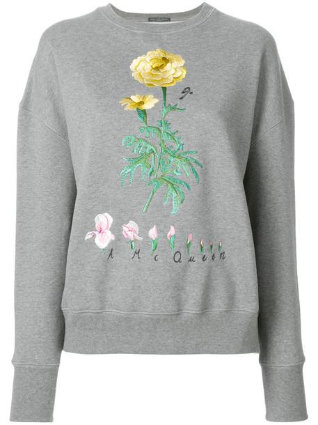 Alexander Mcqueen sweatshirt embroidered women floral cotton grey sweater