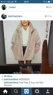 cream fur coat,fur coat