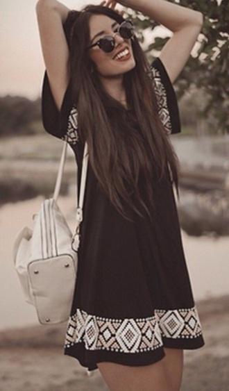 dress black aztec summer short sleeves