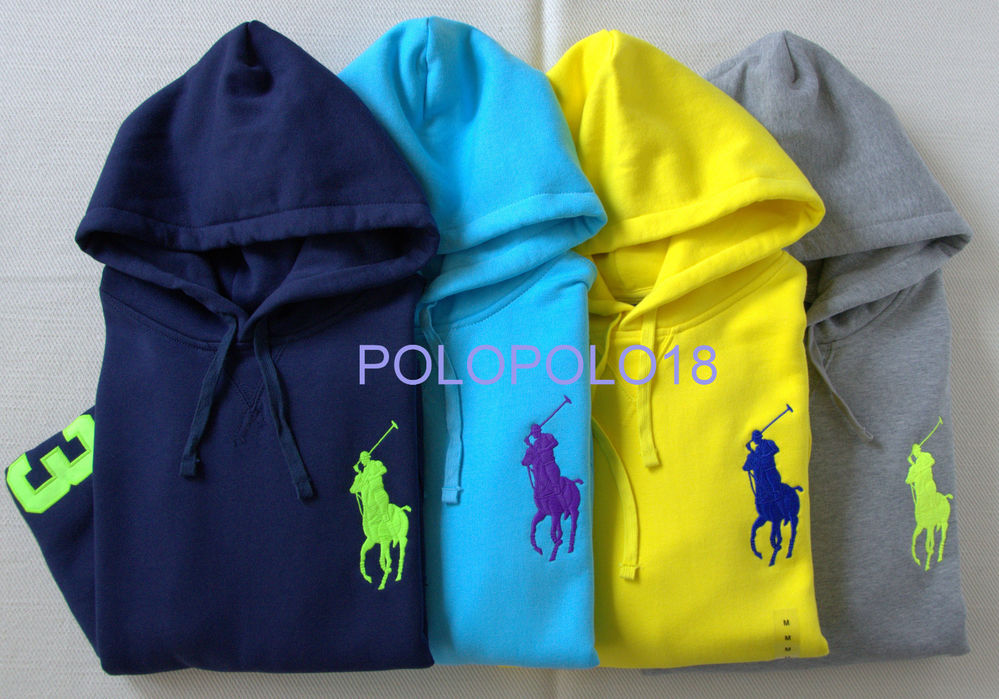 New polo ralph lauren big pony 3 pullover hoodie s m l xl 2xl