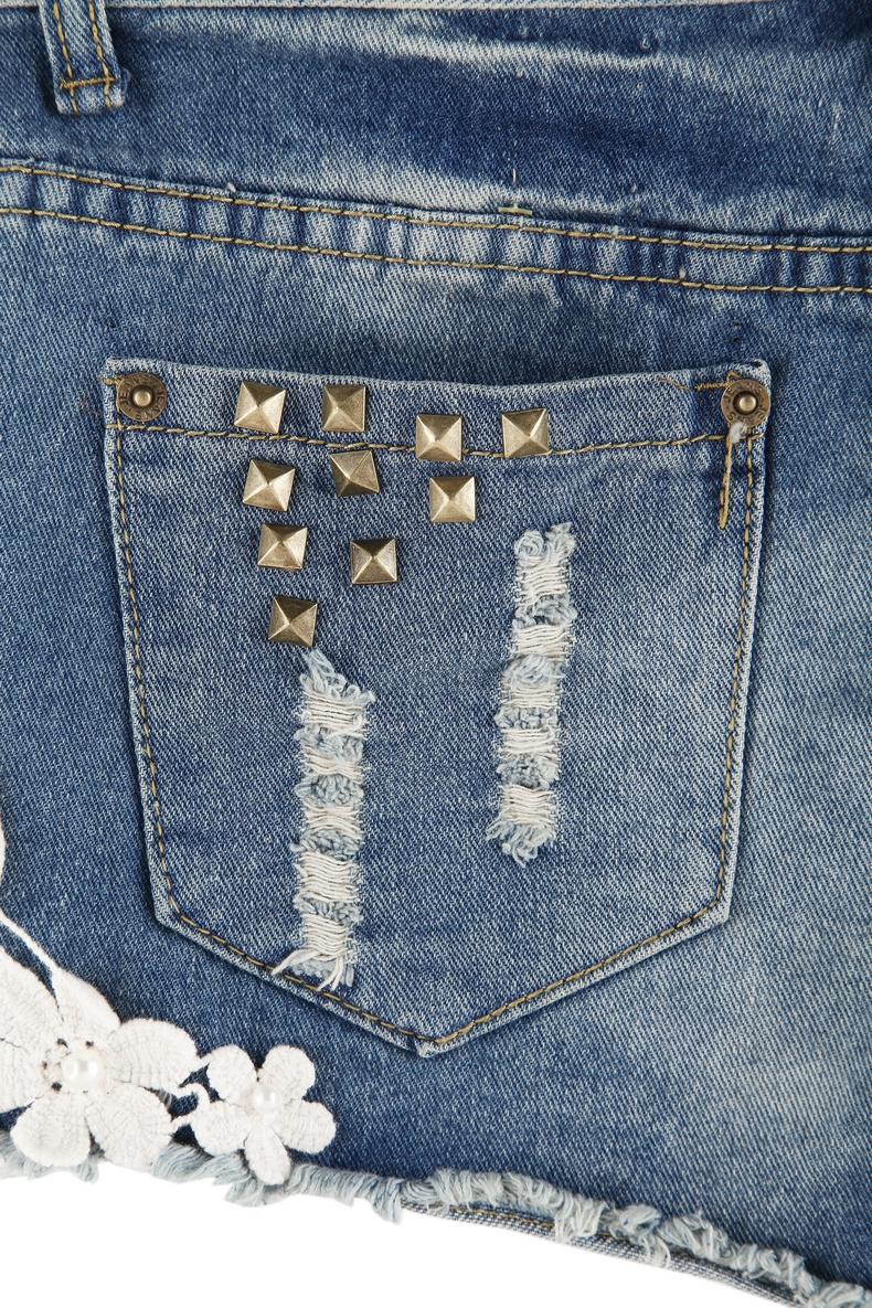 Blue Lace Rivet Pant - Sheinside.com