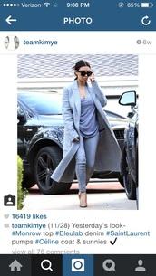 coat,kim kardashian,jeans