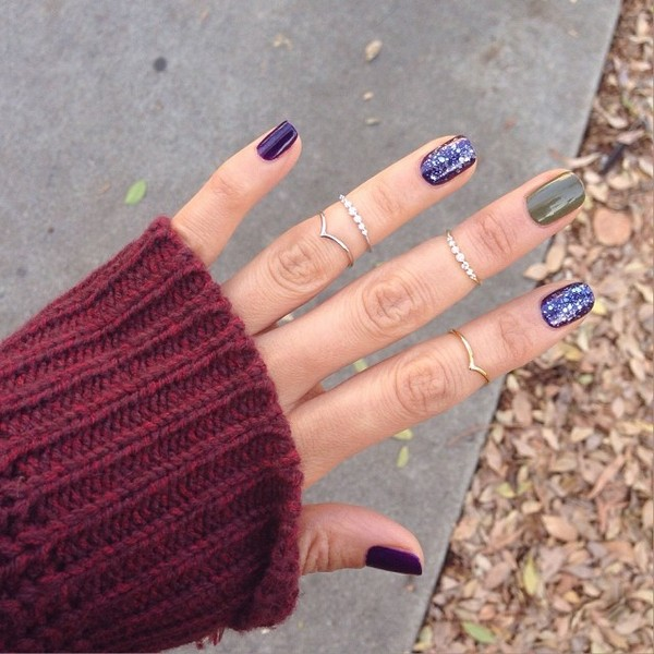 jewels ring knuckle ring sparkle nail polish fall outfits fall outfits