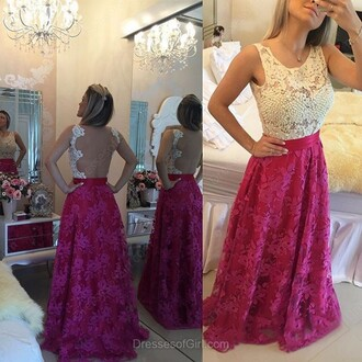 dress open back prom lace elegant gown fashion style red romantic dressofgirl