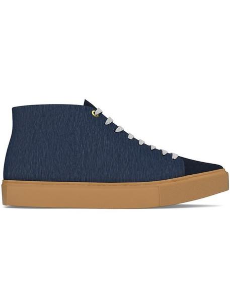 Myswear hair women sneakers leather blue suede shoes