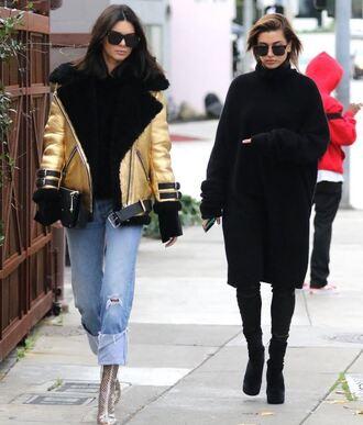jacket all black everything hailey baldwin jeans gold kendall jenner sweater sweater dress turtleneck streetstyle model off-duty cardigan