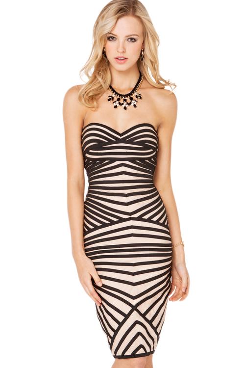 Striped Optical Illusion Dress in Mocha Black