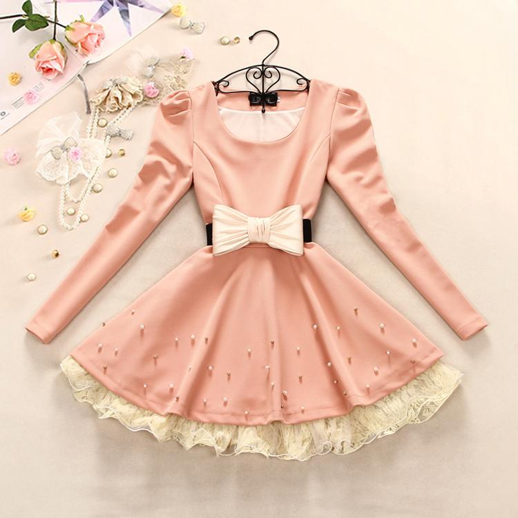Bowknot belt princess dress lace beading dress