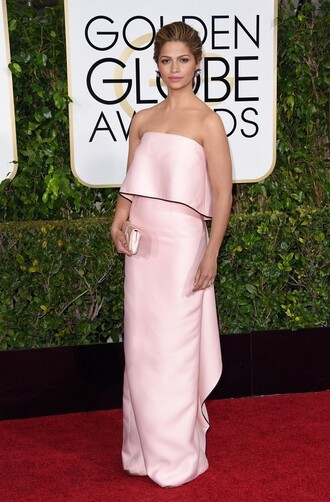 camila alves golden globes 2015 clutch pink dress bustier dress