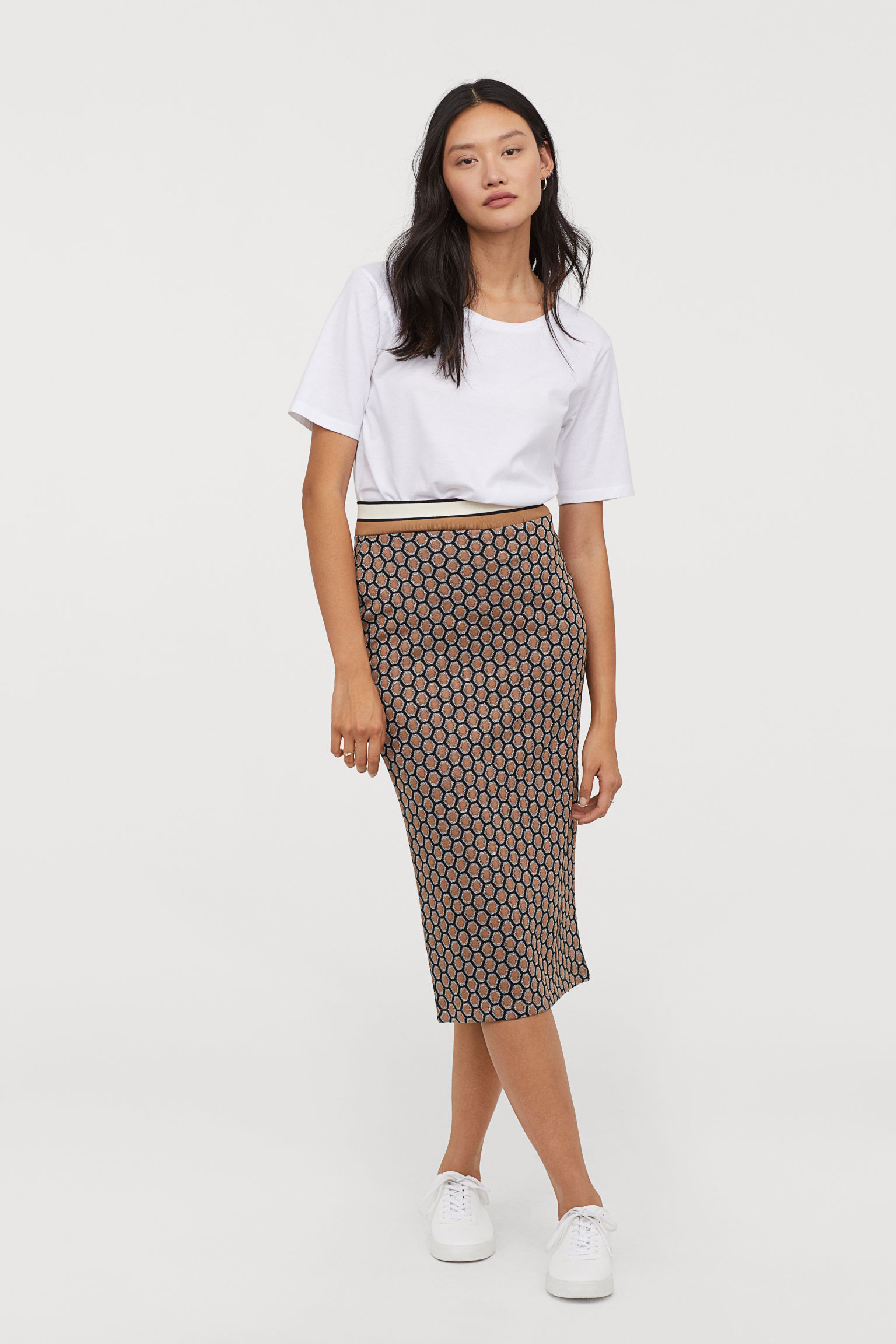 Patterned Pencil Skirt - Dark beige/patterned - Ladies | H&M US
