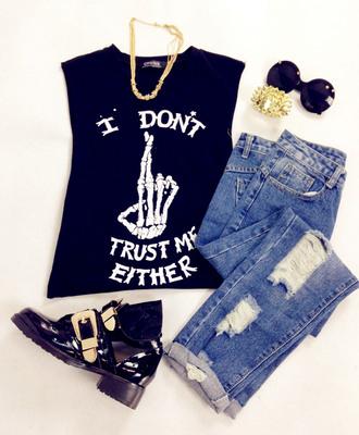 tank top vest vest top skeleton crop tops t-shirt clothes fashion denim jeans shoes boots sunglasses ripped jeans boyfriend jeans