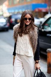 coat,olivia palermo,fur,sweater
