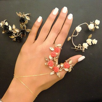 jewels gold cuff hand chain flowers floral wedding accessories