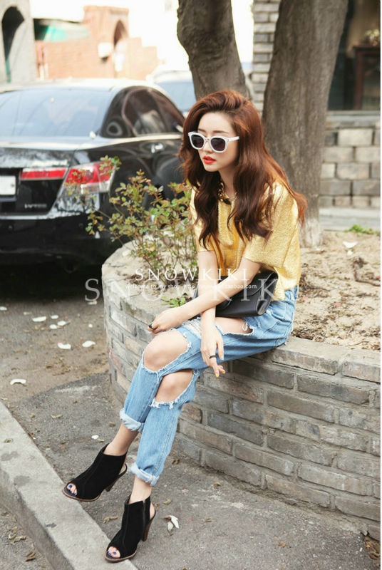 2014 vintage retro style Boyfriend ripped jeans for women plus size loose fit big hole-in Jeans ...