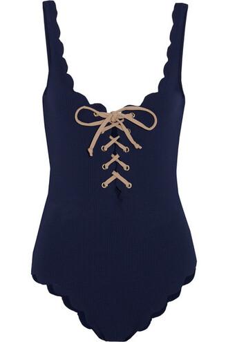 scalloped lace navy swimwear