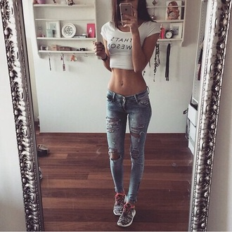 jeans destroyed skinny jeans top shirt blue high waisted jeans blouse