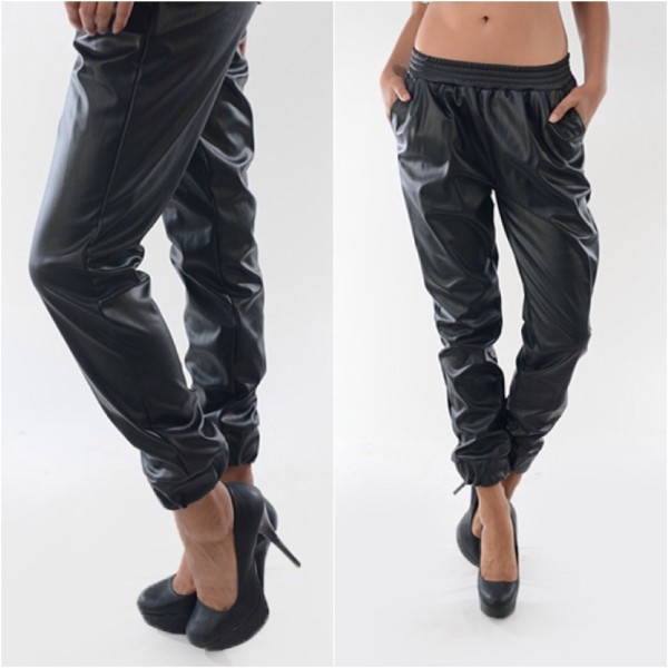 2014 Women's Punk Faux Leather Sweatpants Joggers With Pocket Track lounge Jogging Sweat pants Ankle Chic Baggy Leather Pants-in Pants & Capris from Apparel & Accessories on Aliexpress.com | Alibaba Group