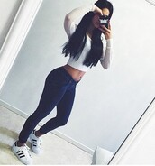 jeans,pants,blue jeans,top,crop tops,zaful,white,white crop tops,booty,selfie,sexy,stylish,indie,fashion,dope,tumblr,trendy,swag,grunge,adidas