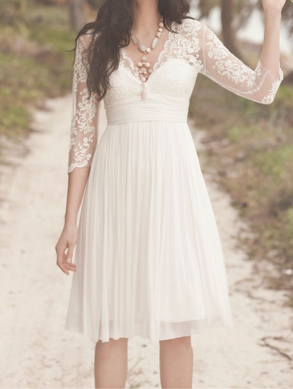 dress short wedding dress wedding dress white lace dress summer wedding dress lace wedding dress chiffon dress custom made dresses beach wedding dress country wedding white dress lace sleeves sleeve three-quarter sleeves sleeve dress pleats hippie beach wedding hipster wedding white lace lace dress short dress long sleeves mini dress