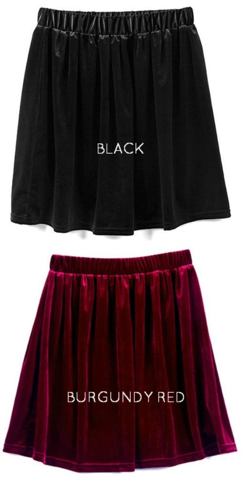 Lot 2 velvet skater skirts black and burgundy wine red vintage