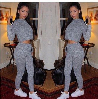 jumpsuit grey crop tops shoes pants