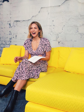 dress midi dress ankle boots spring dress spring outfits instagram katharine mcphee