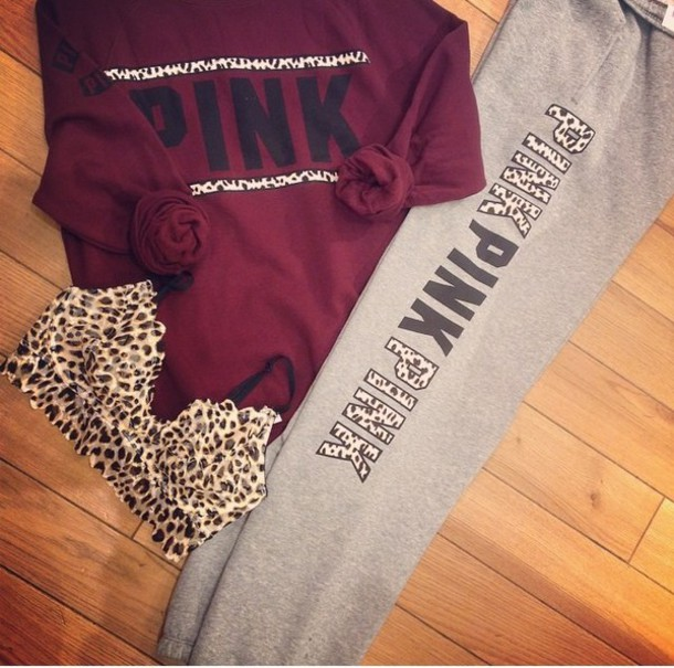 Vs Pink Grey Sweater Baggage Clothing